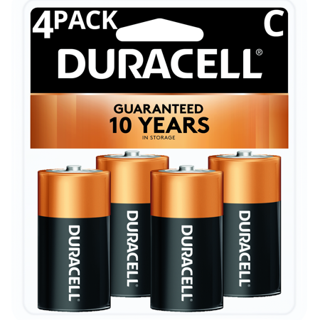 Duracell 1.5V Coppertop Alkaline C Batteries 4 Pack 1.5v Dc Silver Battery