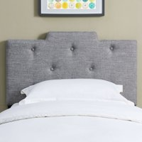 Mainstays Upholstered Tufted Squared Headboard, Multiple Sizes, Grey