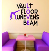 757b9fd8e Custom Wall Decal : Vault Floor Unevens Beam Gymnastics Sign Teen Girl  Bedroom Decoration Picture Art