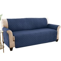 Reversible Spill Resistant Quilted Furniture Protector Cover with Ties - Covers Seat Bottom, Seat Back and 2 Seat Arms, Sofa, Navy/Blue