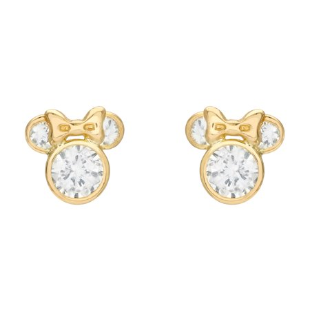 Disney Minnie Mouse CZ 10kt Gold Minnie Mouse Stud Earrings Classic Mickey Mouse Earrings