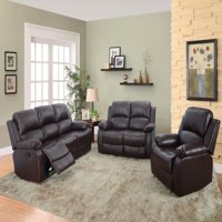 Reclining Sectional Sofa_AYCP Furniture_3pc Living Room Reclining Sectional Sofa Set, Sofa/Loveseat/Chair, Bonded Leather, Brown Color, More Colors and Styles available