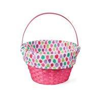 "Way to Celebrate Easter Basket with Liner, 10"", Pink Polka Dot"