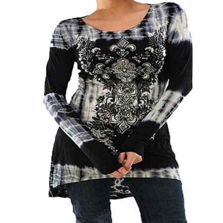 - JustVH Women's Floral Printed Long Sleeve Tunic Tops Splice Knitted Shirts Blouse