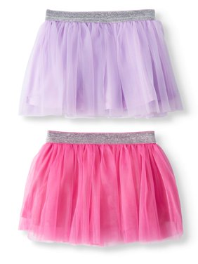 Baby Girls' Glitter Waistband Tutus, 2-Piece Multi-Pack