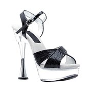 eb09a92576c Womens Sequin Sandals 6 Inch Heels Silver Cone Heel Glitter Shoes Black  Silver