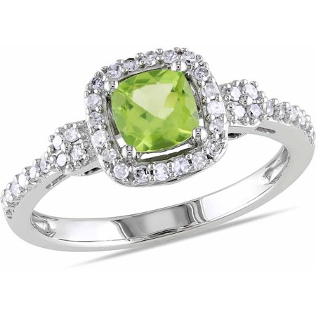 5/8 Carat T.G.W. Cushion-Cut Peridot and 1/5 Carat T.W. Diamond 10kt White Gold Halo Ring