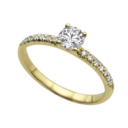 - Yellow Gold White Sapphire Ring Classic 4 Prongs with Diamonds
