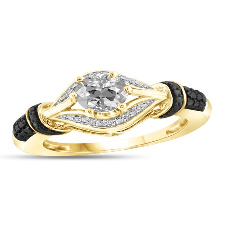 1.00 Carat T.G.W. White Topaz And White Diamond Accent Black Rhodium Plating 14kt Gold Over Silver Ring