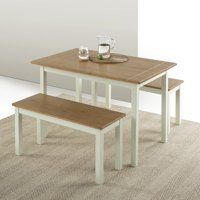 Zinus Becky Farmhouse Dining Table with Two Benches, 3 Piece Set