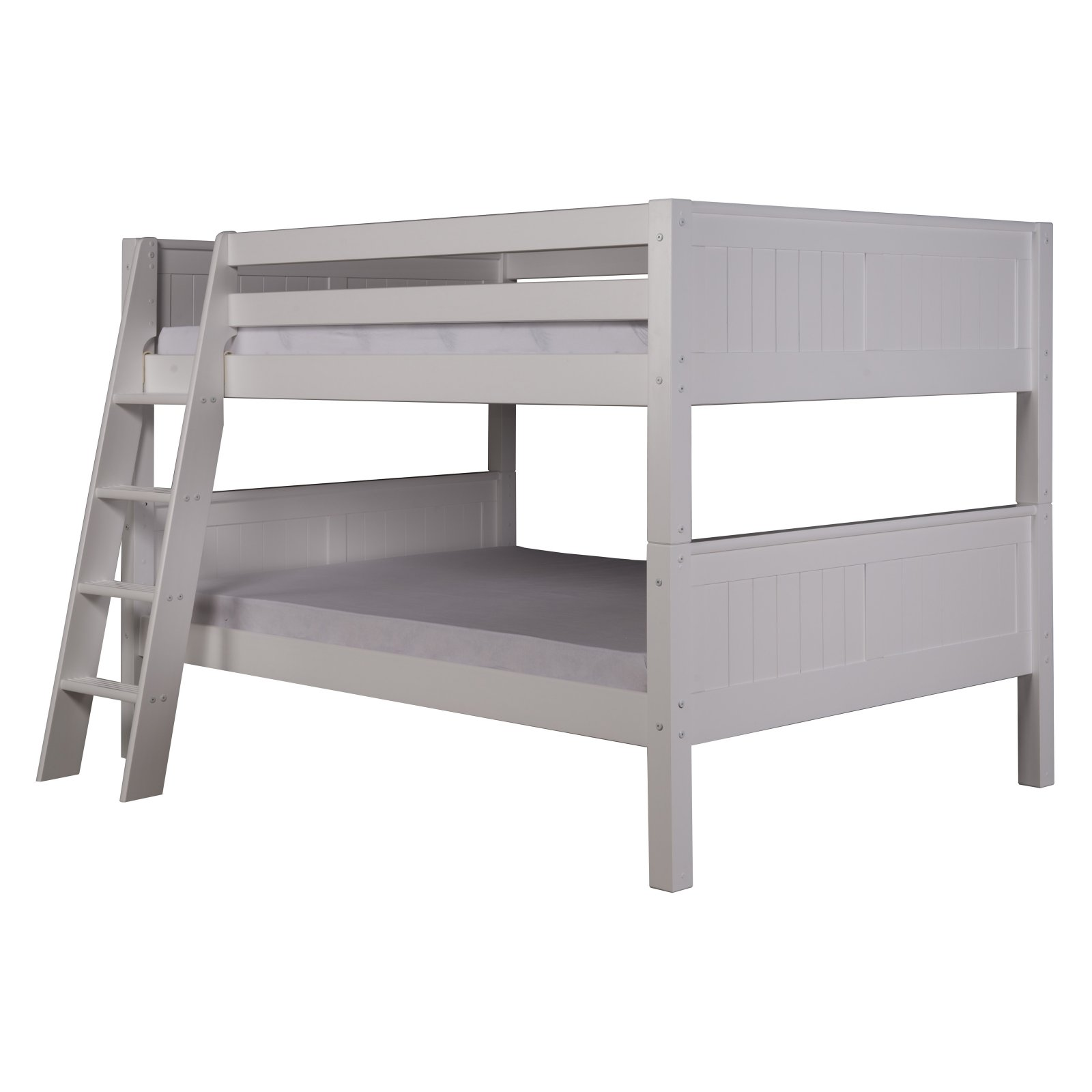 Camaflexi Full over Low Bunk Bed - Panel Headboard Angle Ladder White Finish Beds