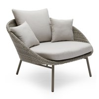 MoDRN Scandinavian Nassau Outdoor Woven Lounge Chair with Sunbrella Cushion