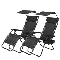 2 PCS Zero Gravity Chair Lounge Patio Chairs with canopy Cup Holder HO74