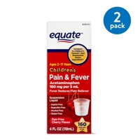 (2 Pack) Equate Childrens Acetaminophen Dye-Free Cherry Suspension, 160 mg 4 Oz