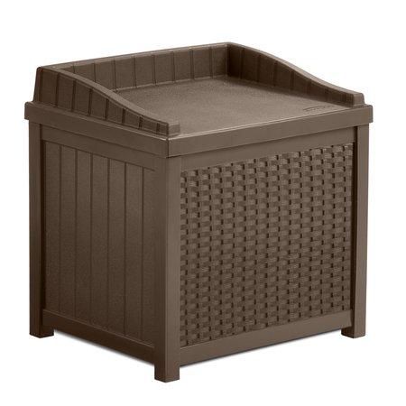 Suncast 22 Gallon Java Resin Wicker Small Storage Seat Deck Box SSW1200 (Plastic Duck)