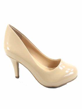 Carlos-s Women's Patent Glitter Round Toe Low Heel Pump Dress Shoes