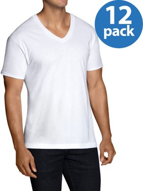 Men's Dual Defense White V-Neck T-Shirts, 12 Pack