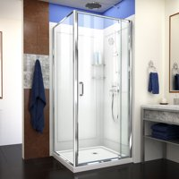 DreamLine Flex 32 in. D x 32 in. W x 76 3/4 in. H Semi-Frameless Shower Enclosure in Chrome with Corner Drain Base and Backwalls