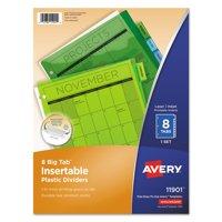 Avery Big Tab Insertable Plastic Dividers, 8-Tab, Multicolor (11901)