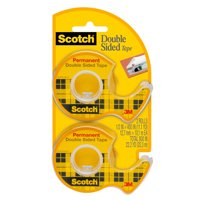 Scotch Double Sided Tape Dispensers, Permanent, Clear, 1/2 in. x 400 in., 2 Dispensers per Pack