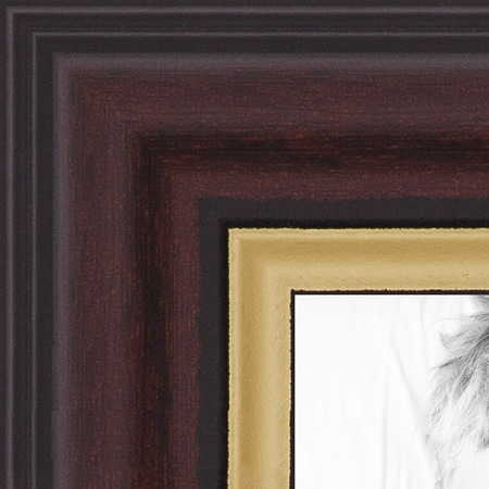 - ArtToFrames MDF Picture FrameWOM0066-83120-YMAH  Mahogany and Gold Slope Frame