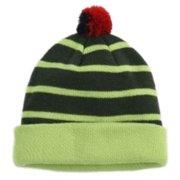 53573b28d1a83 Aquarius Boys Colorful Knit Striped Green Beanie Pom Pom Hat Stocking Cap