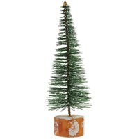 """7"""" Frosted Green Bottle Brush Artificial Mini Pine Christmas Tree"""