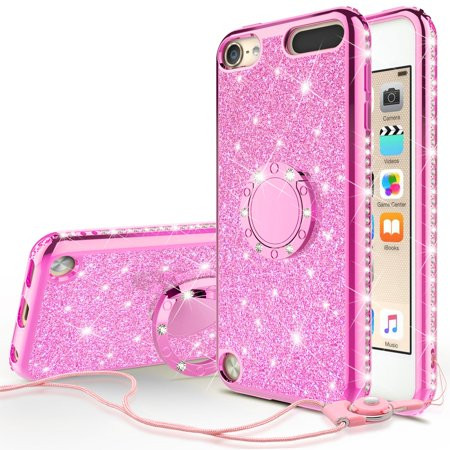 iPod Touch 6 Case,iPod 6/5 Case,Glitter Cute Phone Case Girls Kickstand,Bling Diamond Rhinestone Bumper Ring Stand Protective Pink Apple iPod Touch 5/6th Generation Case for Girl Women -Hot Pink - Ipod Touch Protective Case