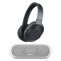 Sony Wireless Noise Cancelling Headphones (Black) with Portable Wireless Speaker