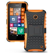 NEW NAKEDCELLPHONE NEON ORANGE GRENADE GRIP TPU SKIN HARD CASE COVER STAND FOR NOKIA LUMIA 630