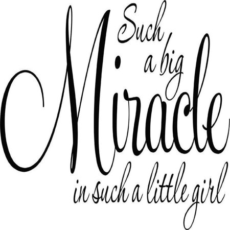 Custom Wall Decal Such A Big Miracle Is Such A Little Girl Baby Bedroom Nursery Decor Picture Art - Vinyl Wall Decal 12x24 Baby Nursery Wall Decals