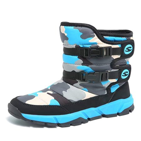 Boys Snow Boots Winter Waterproof Slip Resistant Cold Weather Shoes (Toddler/Little Kid/Big (Cold Weather Hiking Rubber Boots)