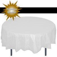 Exquisite 12 Pack Premium White Plastic Tablecloth, 84 Inch Round