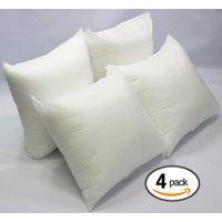 Set of 4 - 18 x 18 Premium Hypoallergenic Stuffer Pillow Insert Sham Square Form Polyester, Standard / White - MADE IN USA