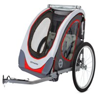 Schwinn Zap Reflective Bicycle Trailer, 2 Child Seats, Red