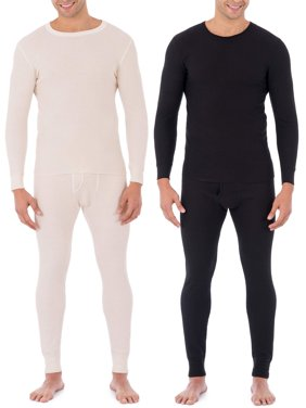 Fruit of the Loom Super Value Men's Classic Thermal Underwear Crew Top, 2 Pack