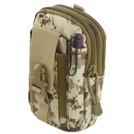 Camouflage Utility Uniform - ZTE Maven 3 Z835 (AT&T) Pouch - Tactical EDC MOLLE Utility Gadget Holder Pack Belt Clip Waist Bag Phone Carrying Holster - (Desert Camo) and Atom Cloth for ZTE Maven 3 Z835 (AT&T)