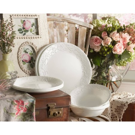 China Platinum Dinnerware Set (Corelle Embossed Bella Faenza 16-Piece Dinnerware Set)