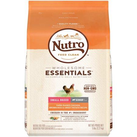 NUTRO WHOLESOME ESSENTIALS Senior Small Breed Dry Dog Food Farm-Raised Chicken, Brown Rice & Sweet Potato Recipe, 5 lb.