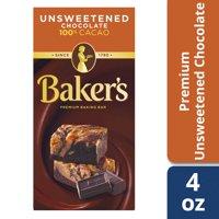 (3 Pack) Baker's Premium Unsweetened Chocolate Baking Bar, 4 oz Box