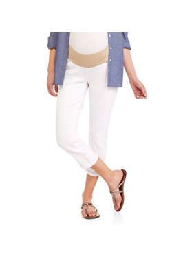 Maternity Demi Panel Stretch Twill Skinny Capri with 5 Pockets and Roll Cuffs--Available in Plus Size