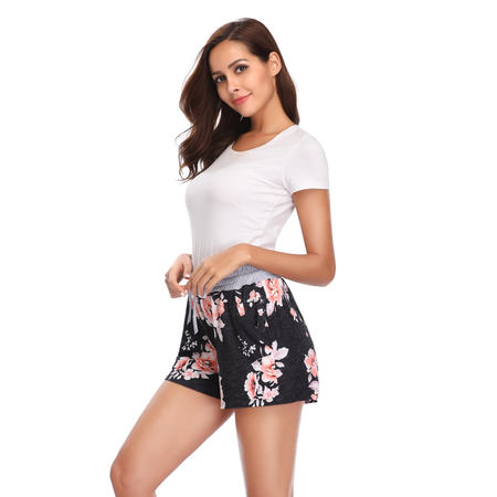 Lucky Star Women Floral Printed Activewear Lounge Shorts with Pocket (Grey Waist/Black, Small)