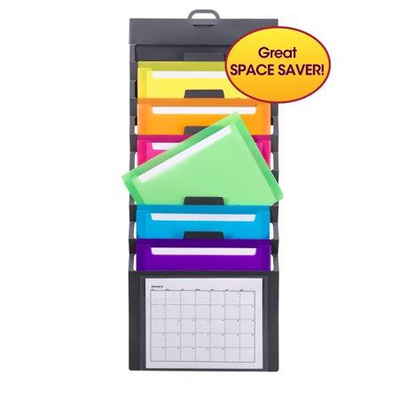 Smead Cascading Wall Organizer, 6 Pockets, Gray/Bright, Letter Size