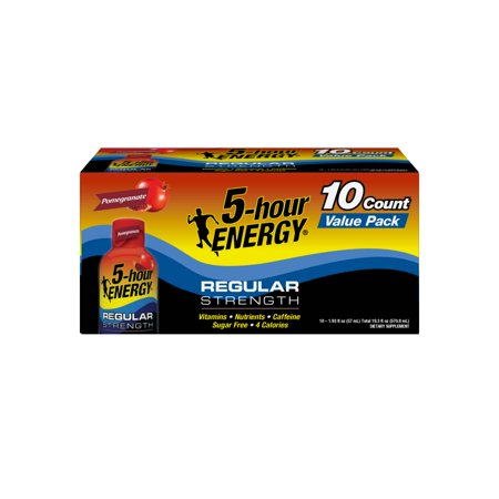 5-hour ENERGY® Regular Strength Pomegranate Flavor, Low Calorie Energy Shot, 10 Pack