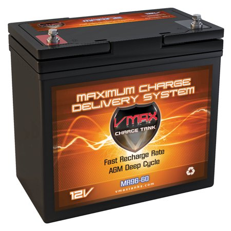 VMAX MR96-60 12V 60Ah AGM Deep Cycle Marine Battery for 12 Volt 45 Pound 45lb Thrust 12V Trolling