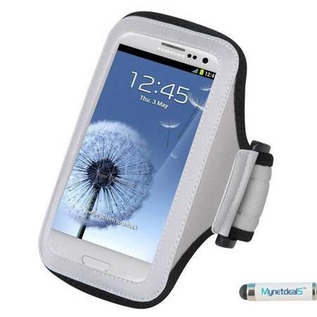 Premium Sport Armband Case for Samsung Galaxy Grand Neo Plus - Gray (Grey) + MYNETDEALS Mini Touch Screen Stylus - Neon Armbands
