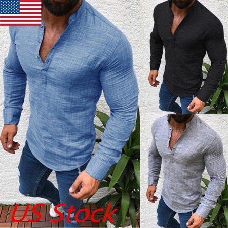 Men's Slim Fit V Neck Long Sleeve Muscle Tee T-shirt Casual Tops Henley Shirts - Muscle T Shirts