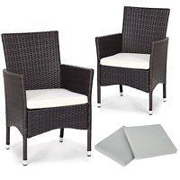 Gymax 2PC Patio Rattan Wicker Dining Chairs Set Mixbrown With 2 Set Cushion Covers