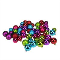 """50ct Vibrantly Colored Shatterproof Shiny and Matte Christmas Ball Ornaments 1.5""""-2"""""""