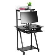 Tbest Double-layers Household Computer Desk Laptop Table Mobile Rolling Wheel Stand Workstation, Mobile Computer Table, Computer Table